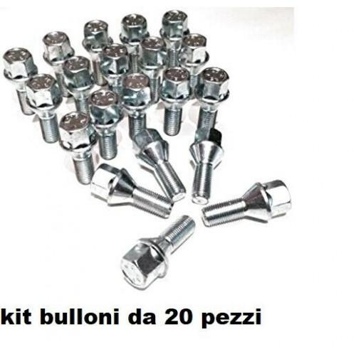 20 BULLONE RUOTA CONICO DIAMETRO 12X1,25 CHIAVE 17 LUNGHEZZA 60 MM ZINCATO