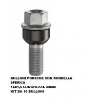 BULLONI FISSAGGIO RUOTE,KIT 10 PEZZI,BULLONE PORSCHE-VW,14X1.5,SFERICO L.39MM