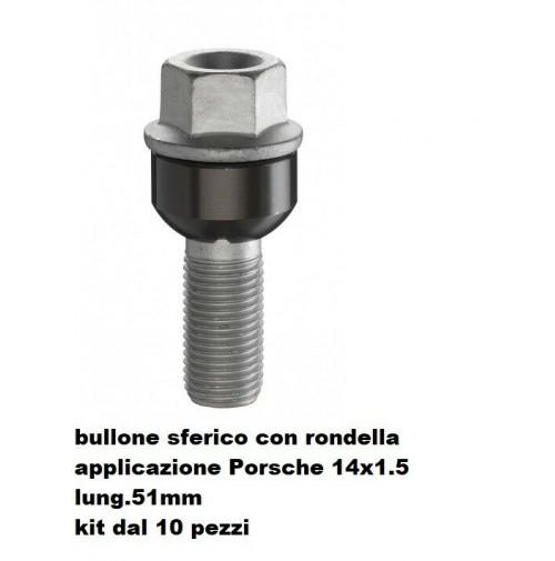 BULLONI FISSAGGIO RUOTE,KIT 10 PEZZI,BULLONE PORSCHE-VW,14X1.5,SFERICO L.51MM