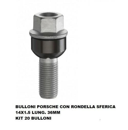 BULLONI FISSAGGIO RUOTE,KIT 20 PEZZI,BULLONE PORSCHE-VW,14X1.5,SFERICO L.36MM
