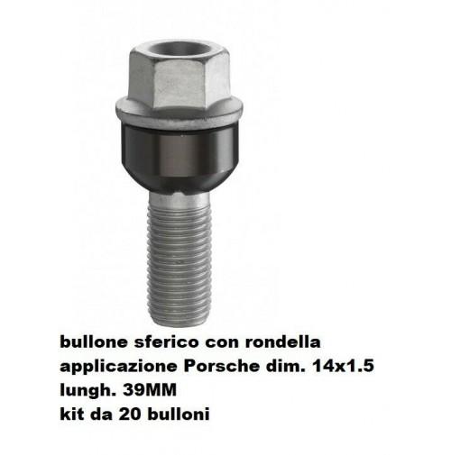 BULLONI FISSAGGIO RUOTE,KIT 20 PEZZI,BULLONE PORSCHE-VW,14X1.5,SFERICO L.39MM