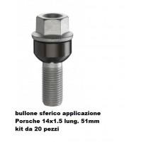 BULLONI FISSAGGIO RUOTE,KIT 20 PEZZI,BULLONE PORSCHE-VW,14X1.5,SFERICO L.51MM