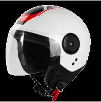 CASCO JET DEMY-JET ORIGINE NEON SCOOP BLACK RED WHITE GLOSS 2 CALOTTE,OMOLOGATO