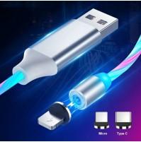 Cavo 2 metri ricarica cellulare USB luminoso a led con 3 adattatori magnetici