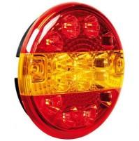 Fanale rotondo posteriore Led 3 funzioni, 12/24V, con supporto,carrelli rimorchi