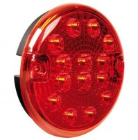 Fanale rotondo retronebbia Led, 12/24V con supporto,per roulotte,carrelli,ecc