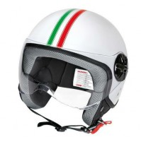 LD-2, casco demi-jet - Bandiera Italiana,visiera trasparente misura S,lampa