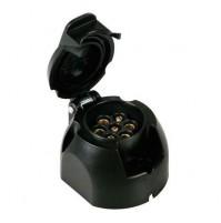 Presa 7 poli + 1 contatto retronebbia, per carrelli e rimorchi senza cavo.